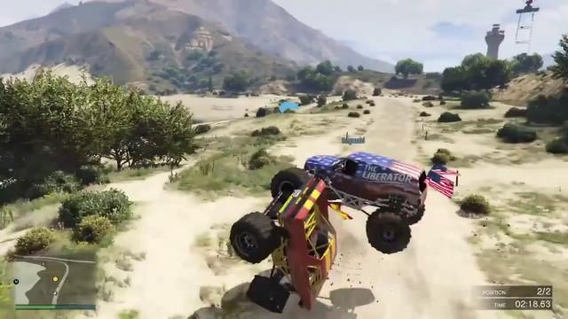 un monster truck fait une prise de judo dans gta v